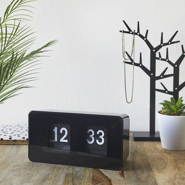 Balvi Reloj sobremesa Flip Clock Color negro Posiblidad de colgar en pared Diseño retro Plástico ABS