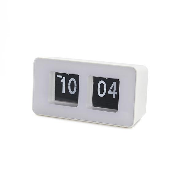 alvi Reloj sobremesa Flip Clock Color blanco Posiblidad de colgar en pared Diseño retro Plástico ABS