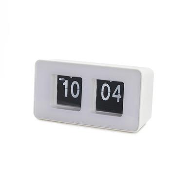 alvi Orologio da appoggio Flip Clock Colore bianco Possibilità di appenderlo al muro Design retrò Pl
