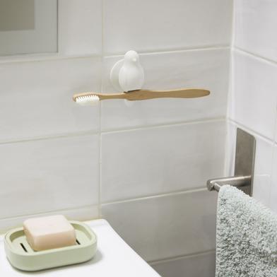 Balvi Soporte cepillo dental Birdie Color blanco Con ventosa Con forma de pajarito Silicona