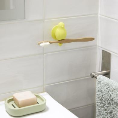 Balvi Soporte cepillo dental Birdie Color amarillo Con ventosa Con forma de pajarito Silicona
