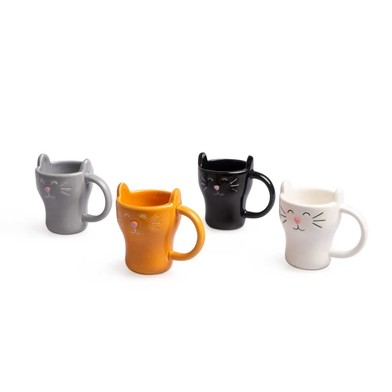 Balvi Coffee set Meow! 4 cups shaped cat Capacity: 90ml (x4) Ceramic