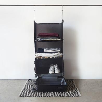 alvi Estantería plegable de viaje Tidy Color negro 3 niveles Ideal para maleta de mano Poliéster 75x