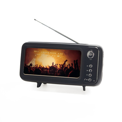 alvi Smartphone holder & Speaker & Radio Retro TV Black colour With battery and USB charging cable A