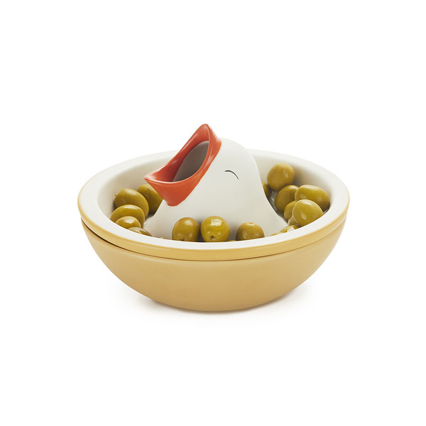 alvi Snack tray Hungry Bird With inner compartment nut shells or bones olive Snaks bowl Ceramic 16cm