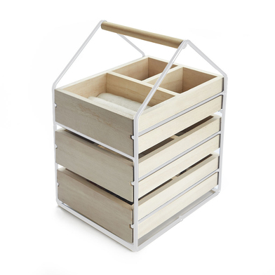 Balvi Jewelry organizer House White colour Jeweler with three wooden crates Handle Wood/metal