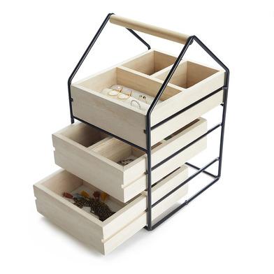 Balvi Organizador joyas House Color negro Joyero con tres cajones de madera Con asa Madera/metal