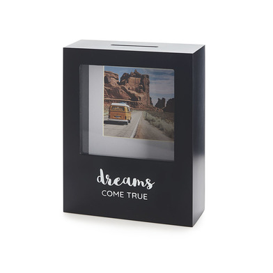 alvi Hucha Dreams Color negro Con soporte para foto 8,5x8,5 cm Ideal para ahorrar dinero para tus pr