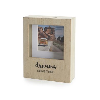 alvi Hucha Dreams Con soporte para foto 8,5x8,5 cm Ideal para ahorrar dinero para tus proyectos Made