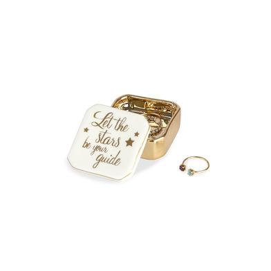alvi Porta anelli Golden Box Stars Colore bianco Scatolina per gli anelli, orecchini ed altri piccol