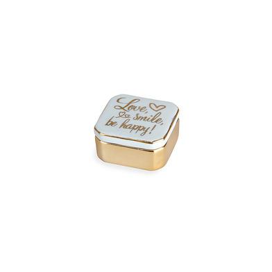 alvi Porta anillos Golden Box Love Color azul Cajita para anillos, pendientes y otras joyas pequeñas