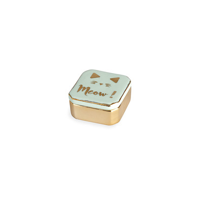 alvi Ring holder Golden Box Meow! Green colour Box for rings, earrings and other small jewelry Porce