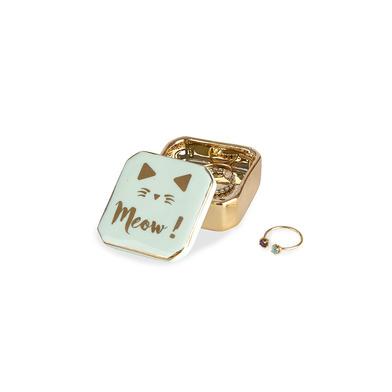 alvi Porta anillos Golden Box Meow! Color verde Cajita para anillos, pendientes y otras joyas pequeñ
