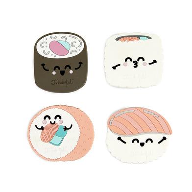 alvi Posavasos MrWonderful Sushi Set de 4 posavasos En forma de nigiri, maki y uramaki Comida japone