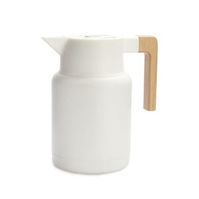 Balvi Termo Home Color blanco 1,3L Cierre hermético Botón abrefácil Con asa de madera Inox/madera
