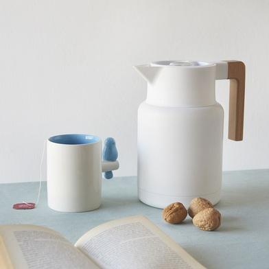 alvi Termo Home Colore bianco 13L Chiusura ermetica Pulsante apri facile Con manico in legno Inox/le