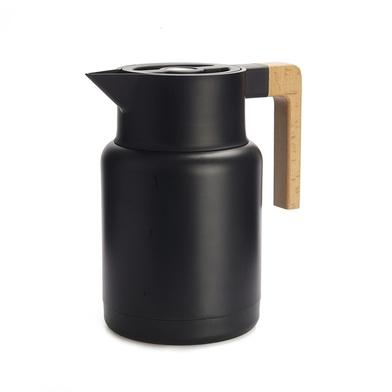 Balvi Termo Home Color negro 1,3L Cierre hermético Botón abrefácil Con asa de madera Inox/madera