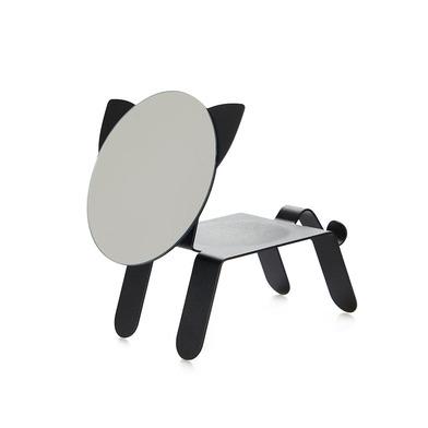 alvi Espejo de sobremesa Cat Color negro En forma de gato Con bandeja para dejar joyas, monedas u ot