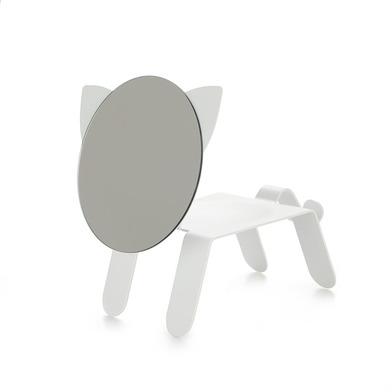 alvi Espejo de sobremesa 27211 Color blanco En forma de gato Con bandeja para dejar joyas, monedas u
