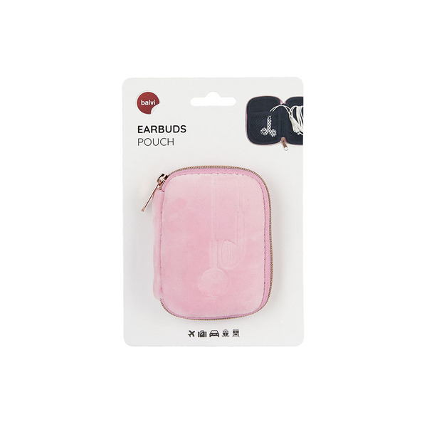 alvi Estuche Earbuds Color rosa Suave Con compartimento interior y sistema de enrollado fácil para c