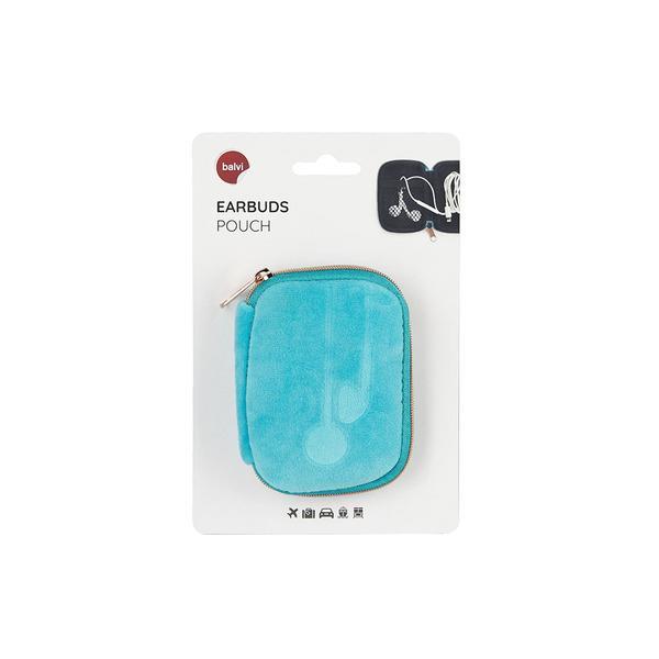alvi Estuche Earbuds Color azul Suave Con compartimento interior y sistema de enrollado fácil para c
