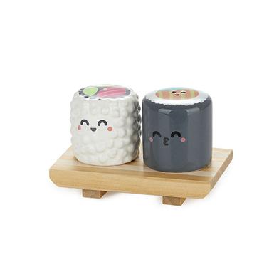 Balvi Set sal & pimienta MrWonderful Sushi Con base de madera Comida japonesa Cerámica/madera