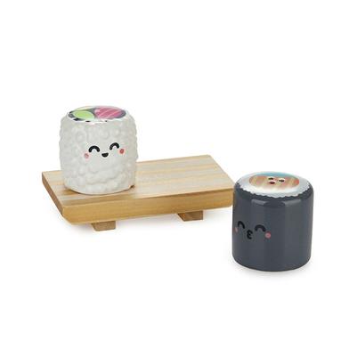 Balvi Salt & pepper set MrWonderful Sushi With wooden base Japanese food Ceramic/wood