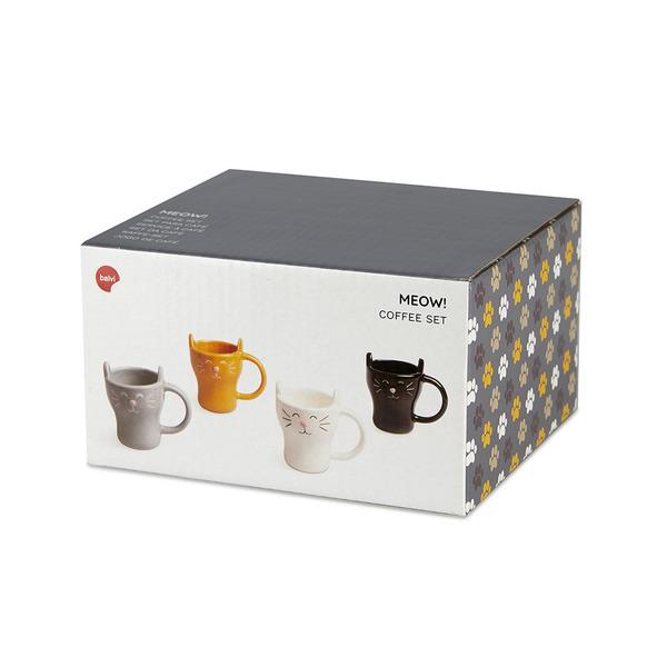 Balvi Set café Meow! 4 tazas con forma de gato Capacidad: 90ml (x4) Cerámica