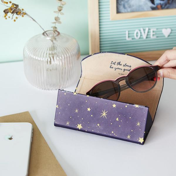alvi Estuche para gafas plegable Starry Color azul oscuro Estampado Funda rígida Plegable Cierre mag