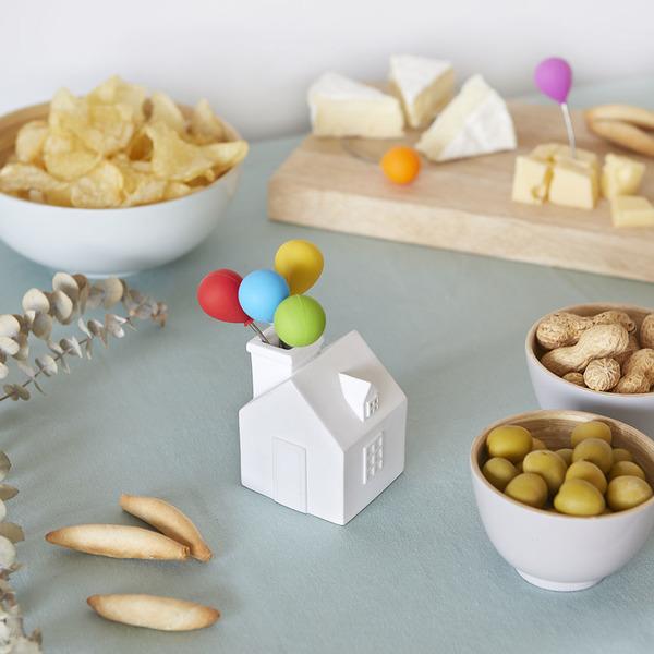 alvi Snack fork House Balloon White colour Stainless steel holders For desserts and snacks Shaped ho