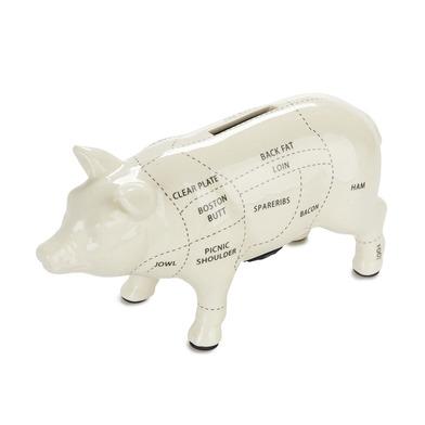 alvi Hucha Cuts of Pork Color blanca Hucha cerdito 20 cm Diseño cerdo carnicería Gran capacidad Huch