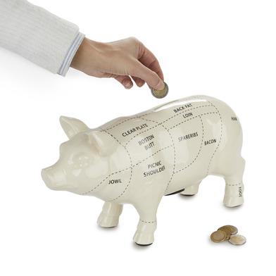 alvi Hucha Cuts of Pork Color blanco Hucha cerdito 33 cm Diseño cerdo carnicería Gran capacidad Huch