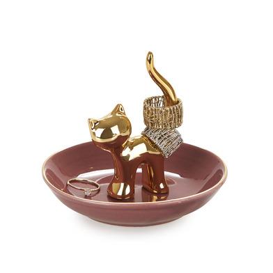alvi Porta anillos Gatto Color dorado Decora tu dormitorio con este original anillero de gato elabor