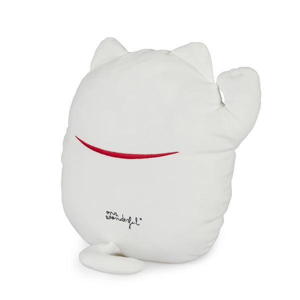 alvi Cojín Mr Wonderful Lucky Cat Color blanco Cojín Mr Wonderful Original y extra suave Con diseño