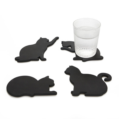 alvi Coasters Cat Black colour Original Set of 4 coasters shaped cats Include magnets so that they c