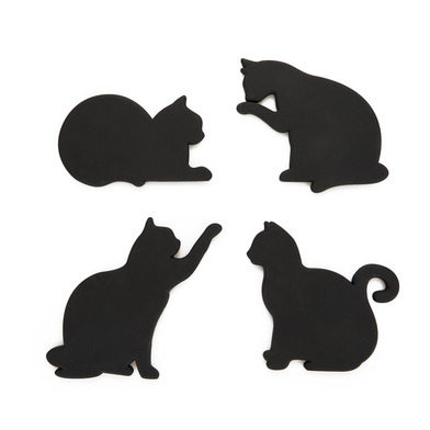 alvi Coasters Cat Black colour Original Set of 4 coasters in the form of cats They include magnets s