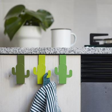 alvi Colgador cajón Cactus Color verde Set de 3 Ganchos para puerta para colgar paños de cocina, toa