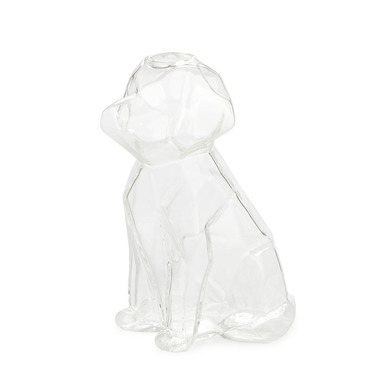 alvi Florero Sphinx Color transparente Jarrón cristal transparente en forma de perro Floreros decora