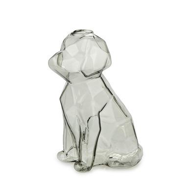 alvi Florero Sphinx Color gris Jarrón cristal gris en forma de perro Floreros decorativos modernos B