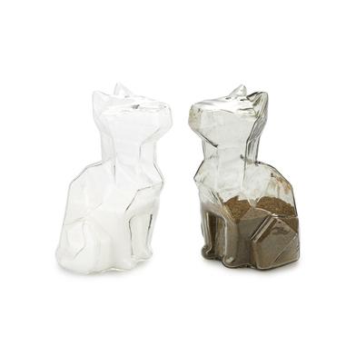 alvi Set sal & pimienta Sphinx Color transparente y gris salero y pimentero en forma de gato Utensil