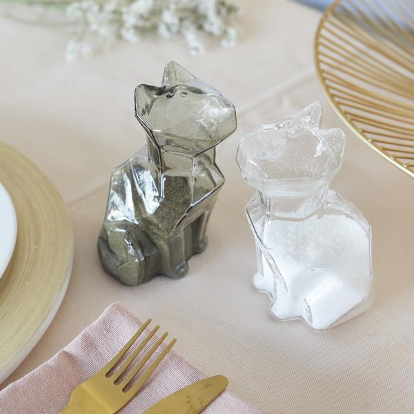 alvi Salt & pepper set Sphinx Transparent And Gray colour salt and pepper shakers shaped cat Cookwar
