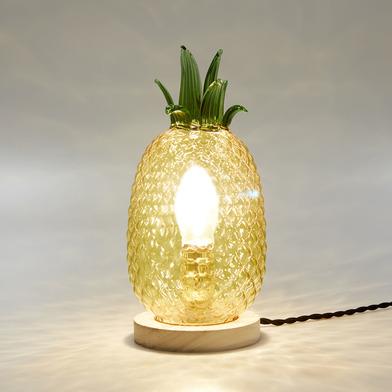 alvi Lámpara de mesa Pineapple Color amarillo lámpara de sobremesa en forma de piña Objeto de decora