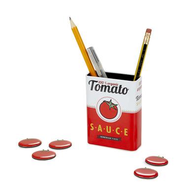 alvi Portalápices magnético Tomato Sauce Color rojo Bote con diseño de lata de tomate con imán para