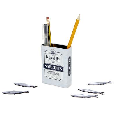 alvi Portalápices magnético Sardines Color blanco Bote con diseño de lata de lata de sardinas con im