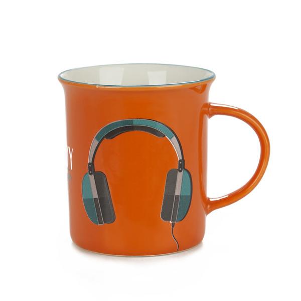 alvi Mug Enjoy Color naranja Taza original de colores vintage Diseño auriculares Cerámica 9,2x11,7x8