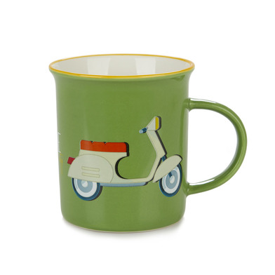 Balvi Mug Ride Green colour Mug Original vintage colors design scooter Ceramic 9,2x11,7x8,5 cm