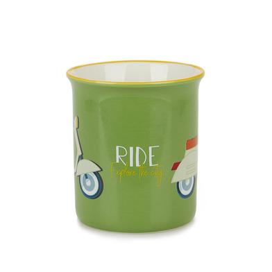 Balvi Mug Ride Color verde Taza original de colores vintage Diseño vespa Cerámica 9,2x11,7x8,5 cm