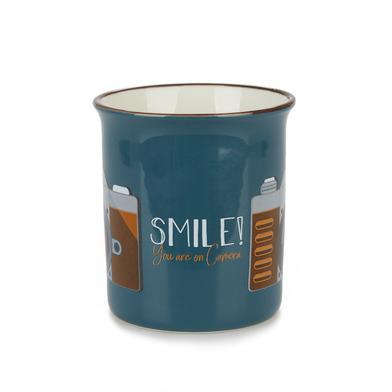 alvi Mug Smile! Color azul Taza original de colores vintage Diseño cámara fotográfica Cerámica 9,2x1