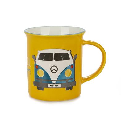 alvi Mug Travel Color amarillo Taza original de colores vintage Diseño furgoneta hippie 60s Cerámica