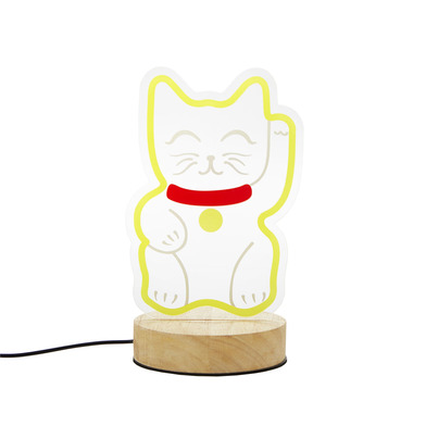 alvi Lámpara de mesa Lucky Cat Color amarillo Decorativa y original lamparita de mesa o escritorio e